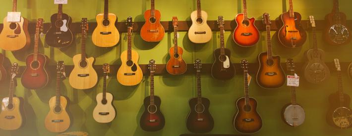 Inside of music store
