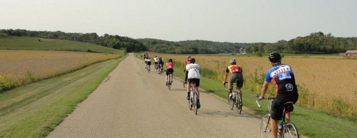 Group of cyclists on country road